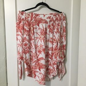 H&M red cream floral off the shoulder top 8